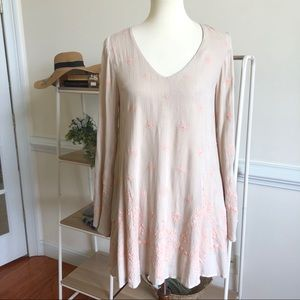 Free People tan embroidered flare sleeve dress